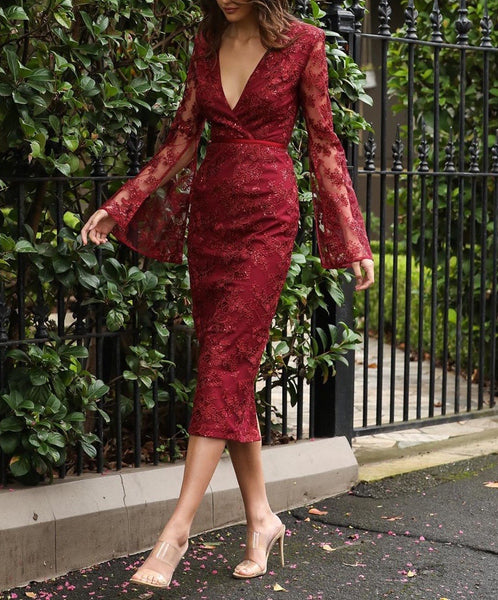 Serena Red Long Sleeve Lace Midi Dress