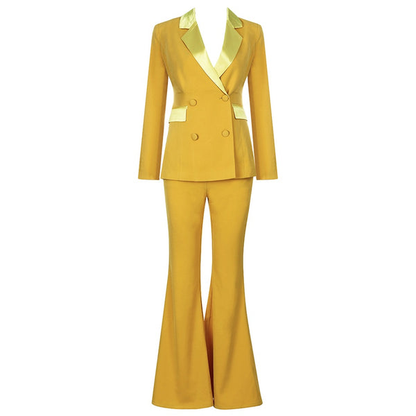 Gaea Two Piece Suit Set- Yellow