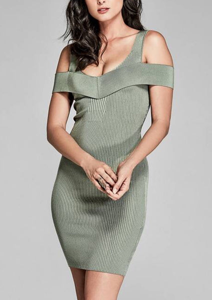Yamila Light Green Cap Sleeve Mini Dress