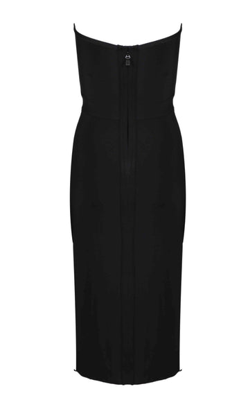 Inna Black Strapless Midi Bandage Dress