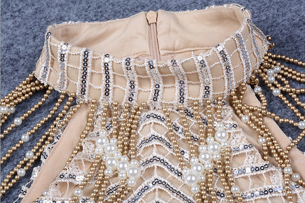 Miriam Gold Embellished Crochet Dress