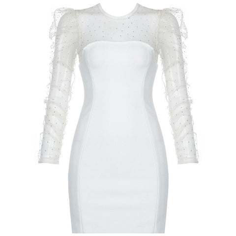 Madison White Embellished Mesh Puff Sleeve Mini Dress