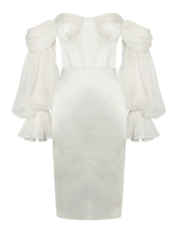 Claire Mesh Puff Sleeve Bustier Midi Satin Dress- White