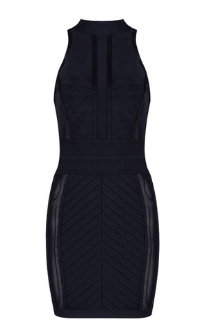 Cheyenne Black High Neck Bandage Dress
