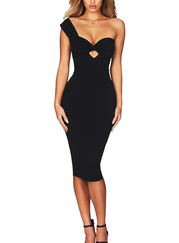 Daria Black One Strap Bandage Dress