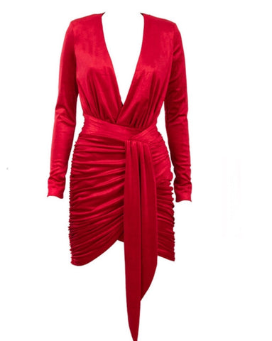 fashion for women, red v neck long sleeve mini dress, dress dresses