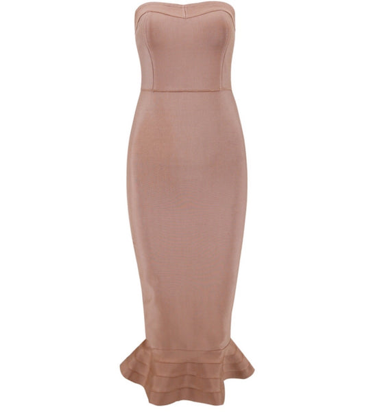 Abbey Strapless Midi Bandage Dress