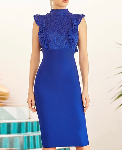Maxine Lace Top Navy Blue Midi Bandage Dress