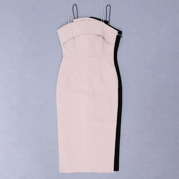 Blakely Pink Spaghetti Strap Midi Dress with Big Bow in Back