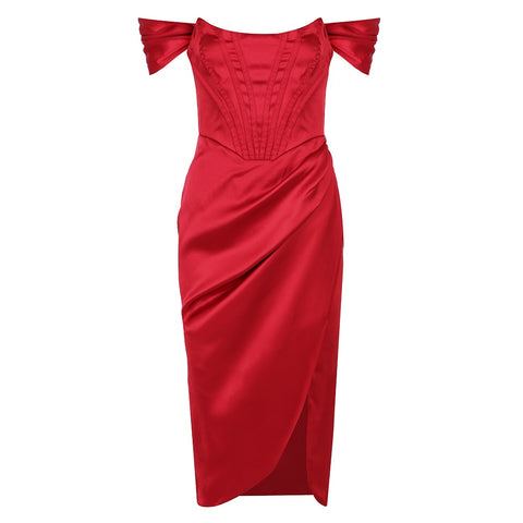 Daleyza Red Off Shoulder Strap Satin Midi Dress