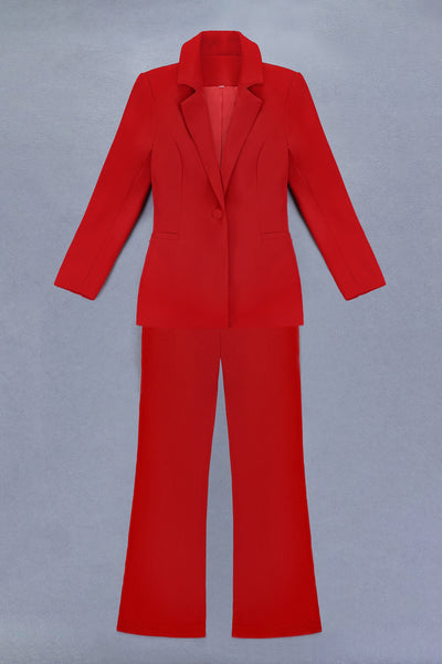 Golnaz Red Formal Party Suit Set