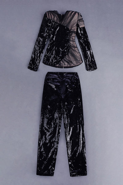 Wylie Black Sequins Suit Set