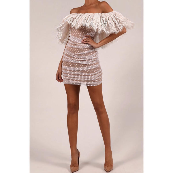 Crystal Lace Off Shoulder Mini Dress - White