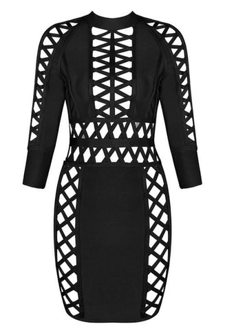 Madison Black Weave Bandage Dress