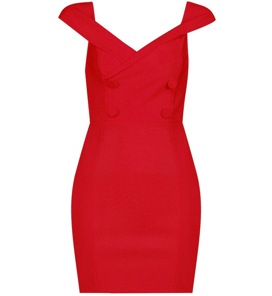 Maren Red Cross Over Front Detail Dress with Button