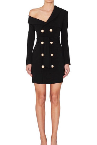 Neylan Black Long Sleeve Suit Dress