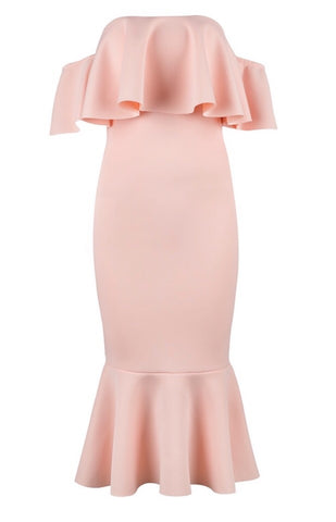 Azalea Peach Ruffle Fluted Midi Dress