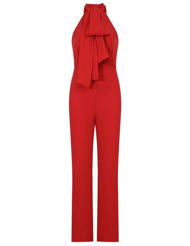 Keira Red Sleeveless Halter Jumpsuit