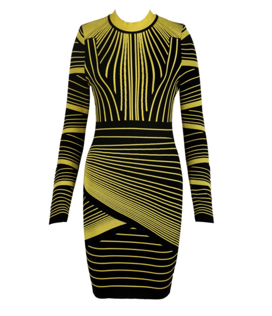 Amelia Yellow High Neck Mini Stripe Bandage Dress