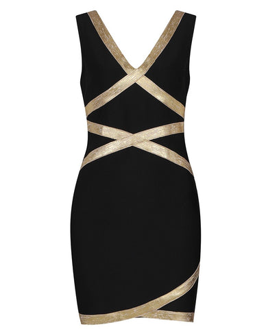 Kendall Black Gold Foil Print Trim Mini Dress