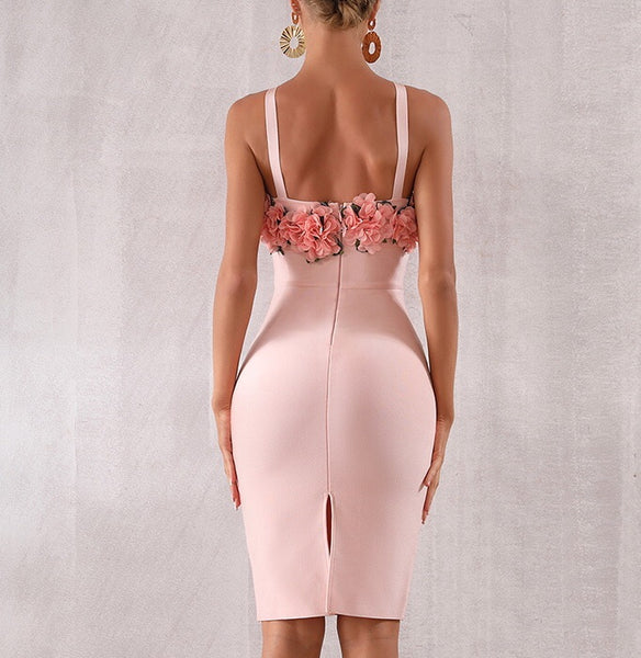 Aleena Pink V Neck Bandage Dress
