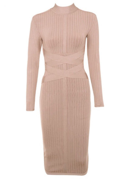 Devyn Round Neck Long Sleeve Ribbed Bandage Dress