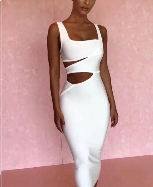 Enora White Cut Out Sexy Bandage Dress