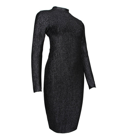 Molly Sparkly Black Long Sleeve Backless Midi Dress