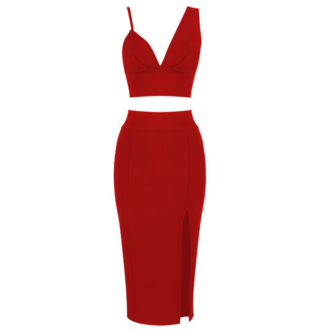 Chana Red Two-Piece Dress Set