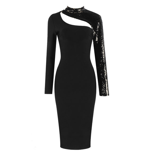 Alessa Sequins Long Sleeve Bandage Dress- Black