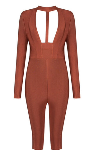 Hallie Rust Knee Length Jumpsuit