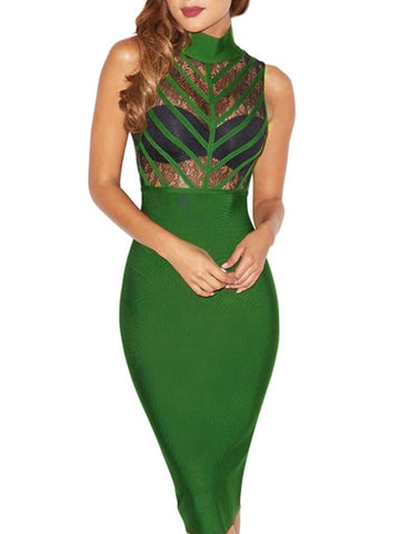Vera Green Lace Bandage Dress