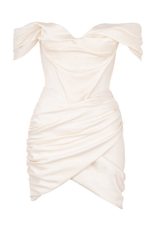 Kehlani White Off Shoulder Sheath Mini Party Dress