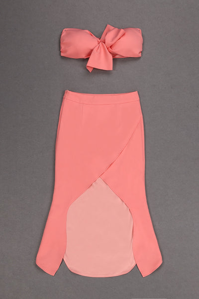 Brie Pink Two Piece Crop Top With Long Skirt
