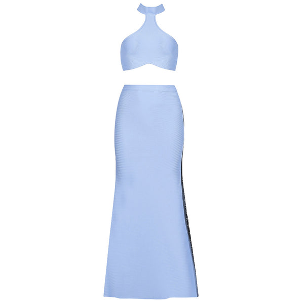 Acel Blue Two Piece High Neck Sleeveless Maxi Dress