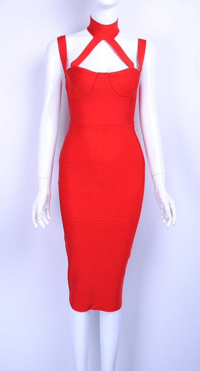 Isabelle Red Halter Neck Bandage Dress