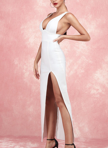 Aislinn White Plunge V Neck Maxi Dress