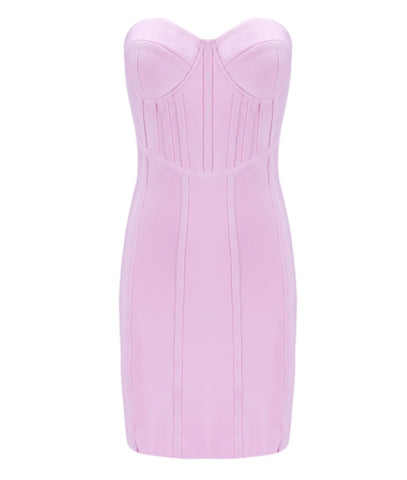 Clio Pink Bustier Bandage Dress