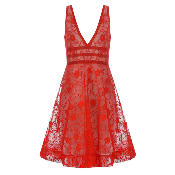 Taliyah V Neck Red Mini Lace Party Dress