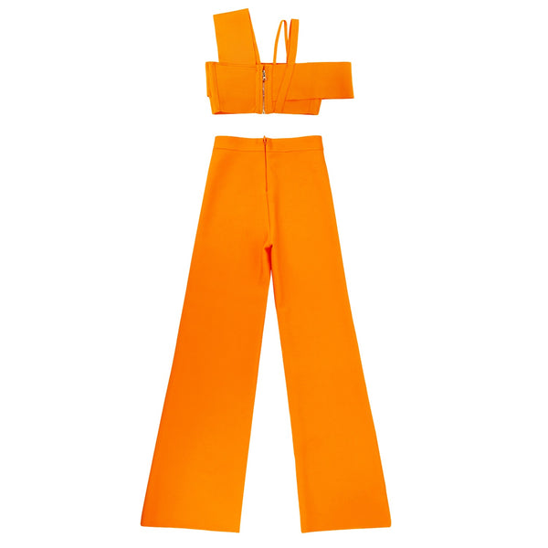 Yara Orange Two Piece Bandage Pants Set