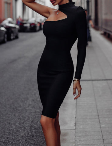 Paulie Black Asymmetrical Mini One Sleeve Bandage Dress