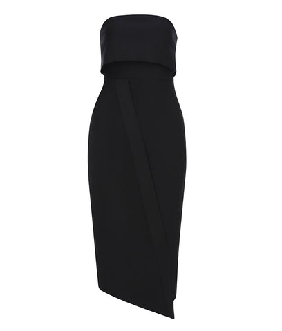 Zariah Strapless Black Asymmetric Midi Dress
