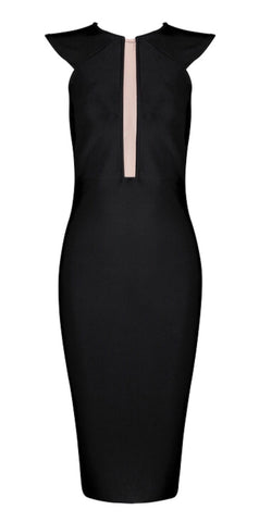 Julieta Black Lace Back Bandage Dress