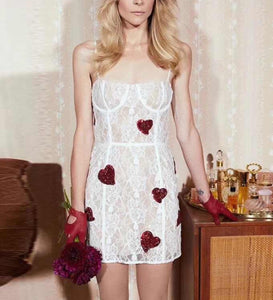 Kassie Sequin Heart Lace Dress