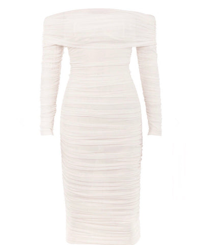 Paislee Off Shoulder Long Sleeve White Mesh Midi Dress