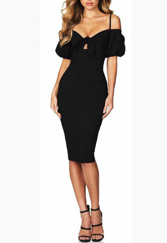 Cheryln Black Puff Sleeves Bandage Dress
