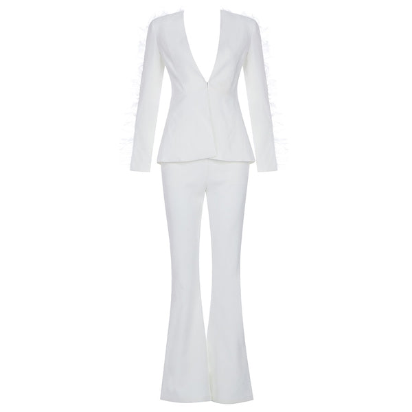 Violyne White Two Piece Pants Set
