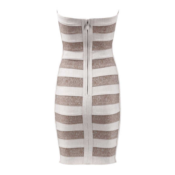 Reina Gold Beige Mini Strapless Bandage Dress