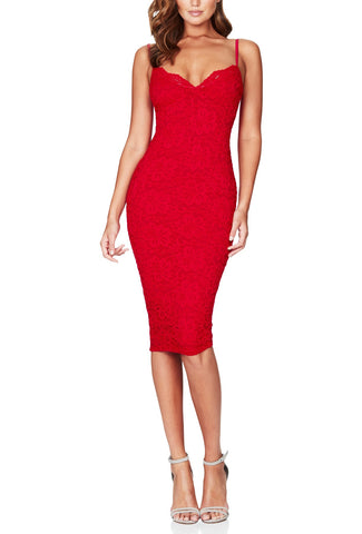 Christal Red Lace Dress