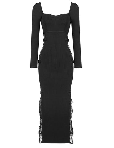 Ailani Long Sleeve Lace Side Black Bandage Dress